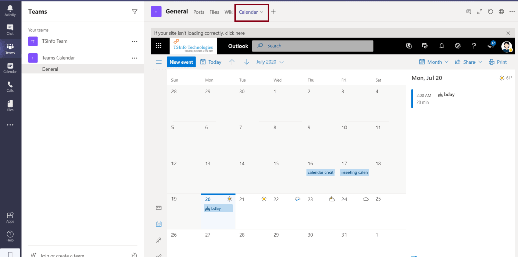 how to create a team calendar in outlook office 365