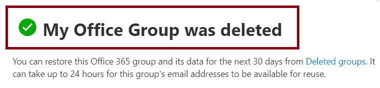 unable to delete office 365 group