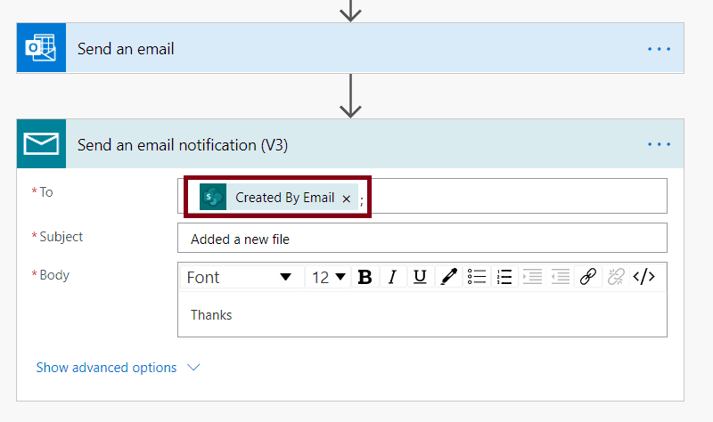Action 'Send_an_email_notification_(V3)' failed