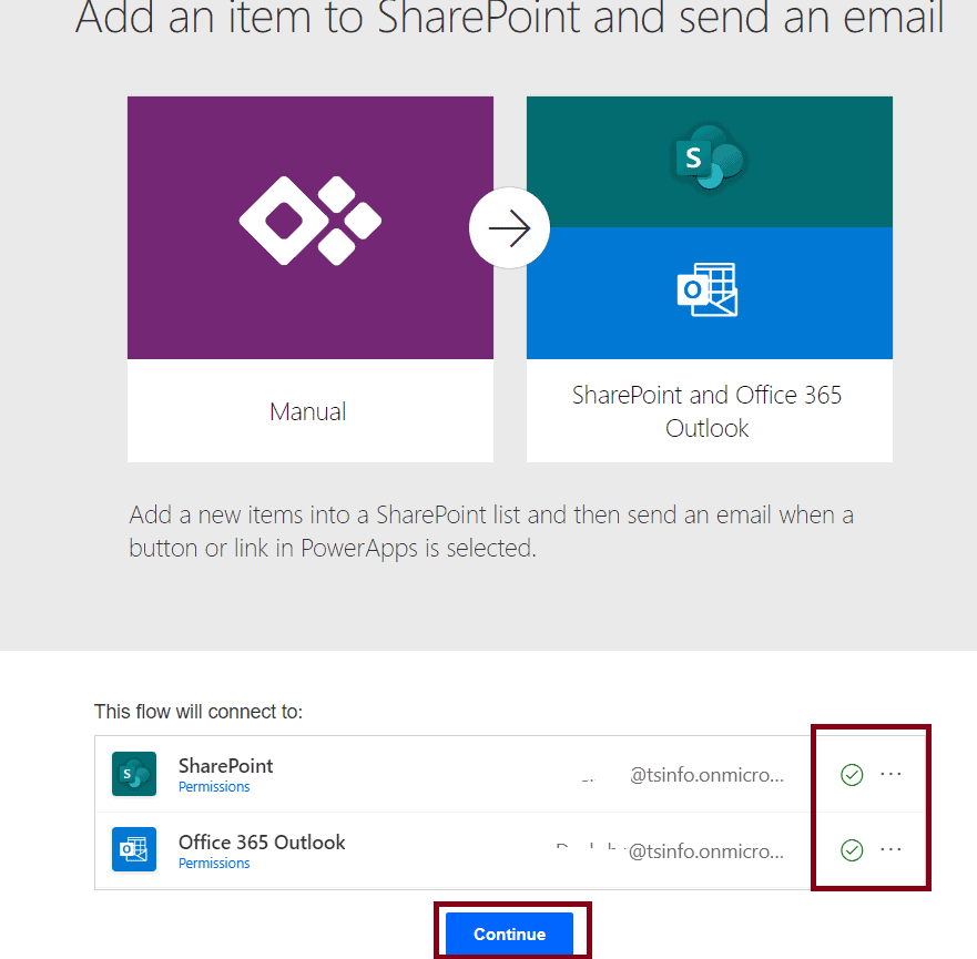 Add an item to SharePoint and send an email
