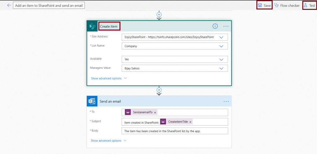 Add an item to SharePoint list and send an email