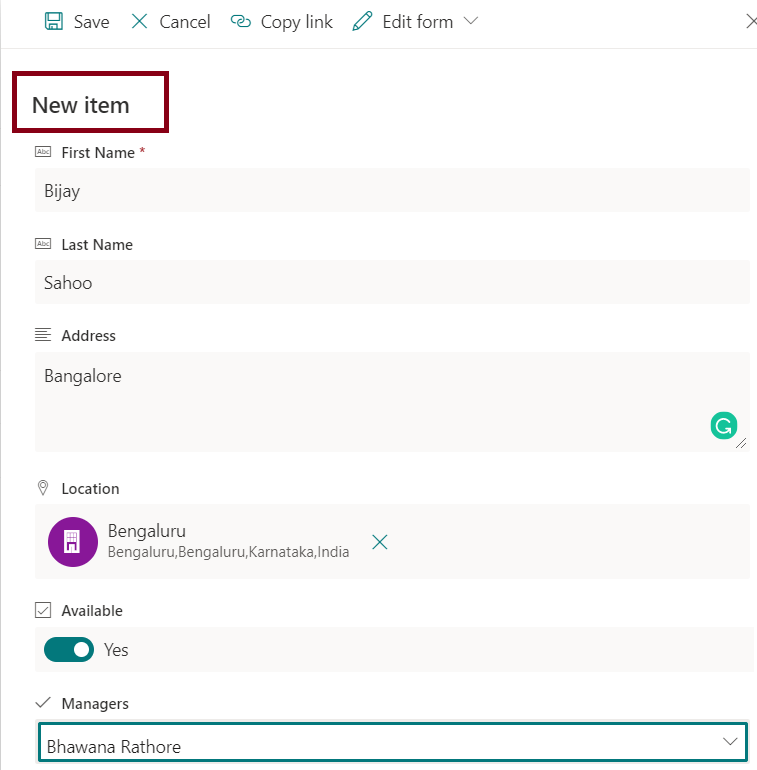 Add items in sharepoint