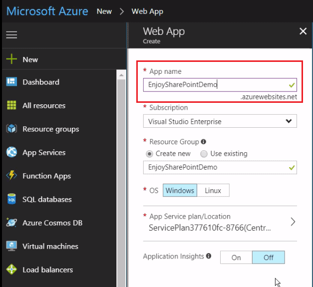 Create website in azure portal