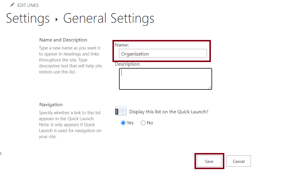 how to edit name of sharepoint online list