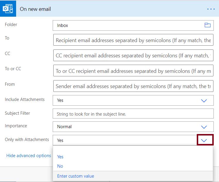 Example of Microsoft flow