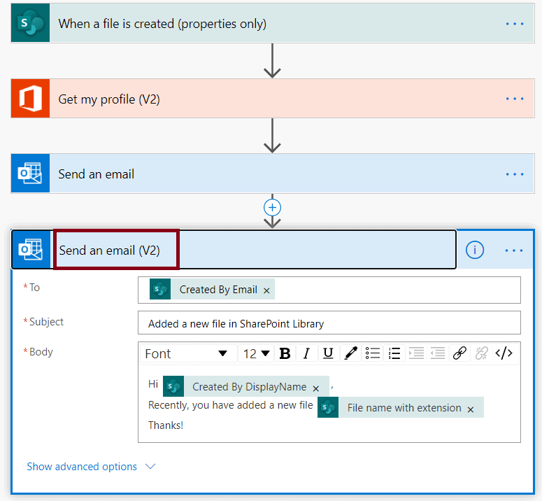 Send a customized email when a new file is added