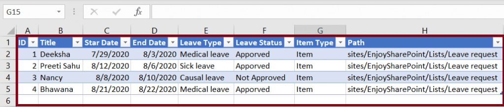 export a SharePoint list to excel