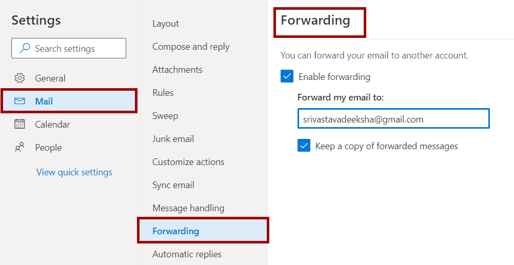 how to forward email from office 365 outlook to gmail