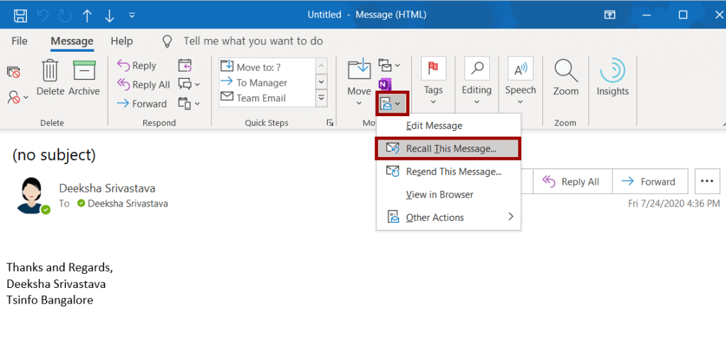 How to recall an email in Outlook desktop