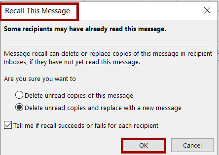 how do i know if i successfully recalled an email in outlook