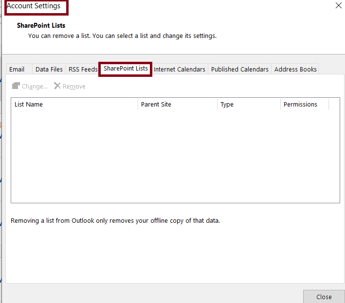 Outlook cannot connect to the SharePoint list