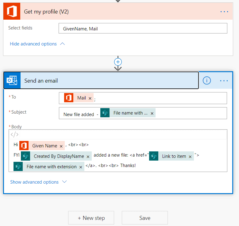 Send a customized email when a new file is added microsoft flow