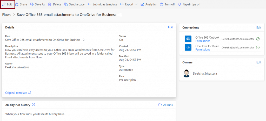 Save Office 365 email attachments to OneDrive for Business Ms flow