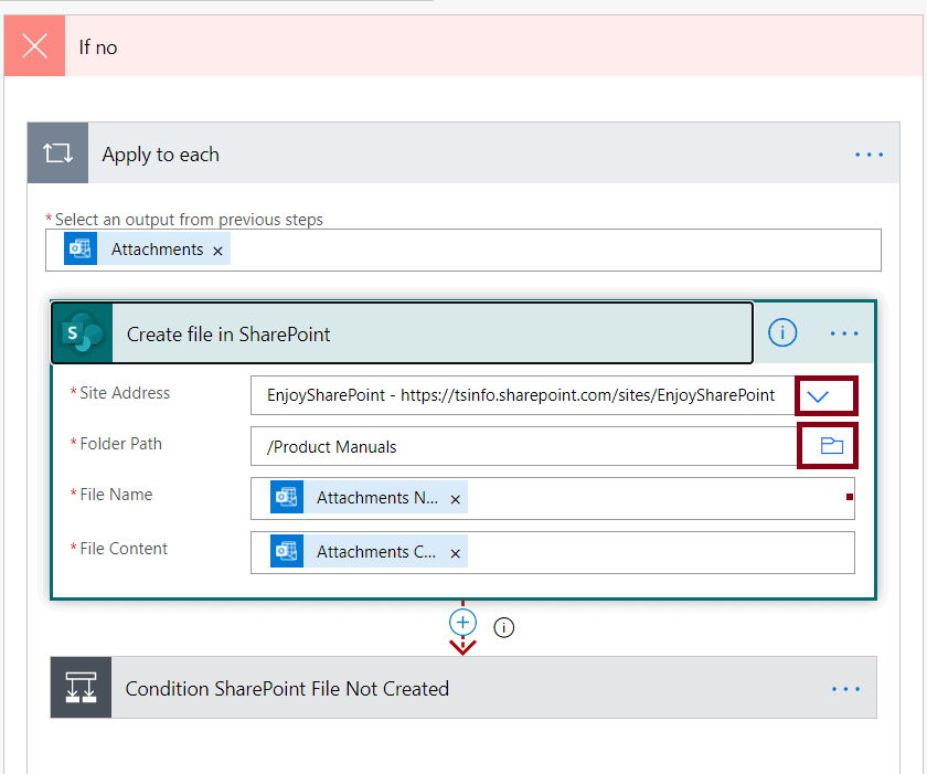 Save my email attachments to a SharePoint document library example