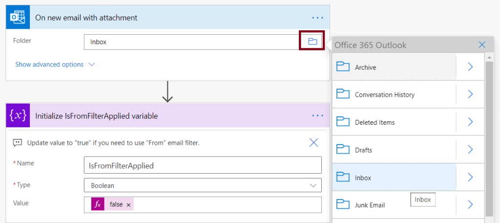 Save my email attachments to a SharePoint document library power automate