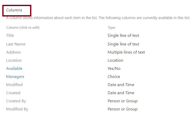 delete a column from SharePoint online list