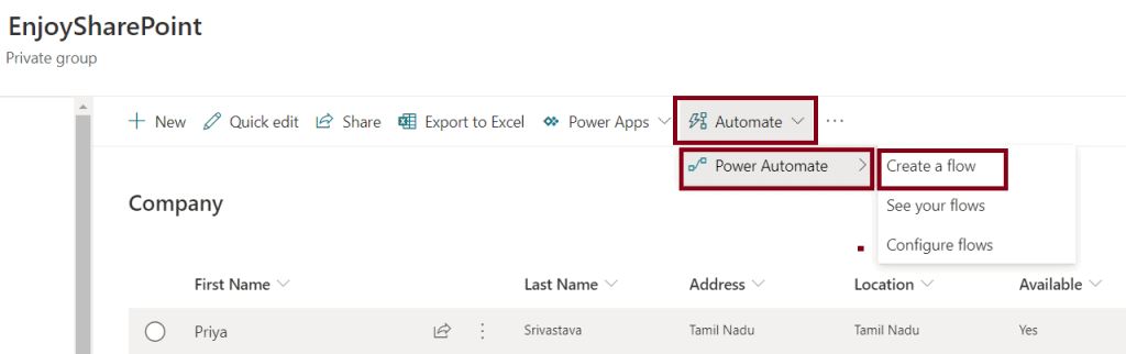 export SharePoint list to csv