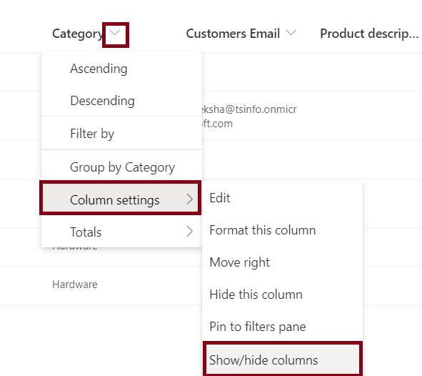 Hide multiple columns in SharePoint List