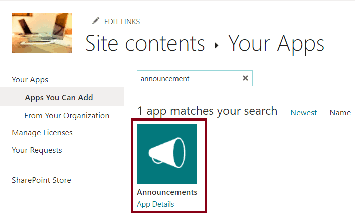 how to add Announcement list