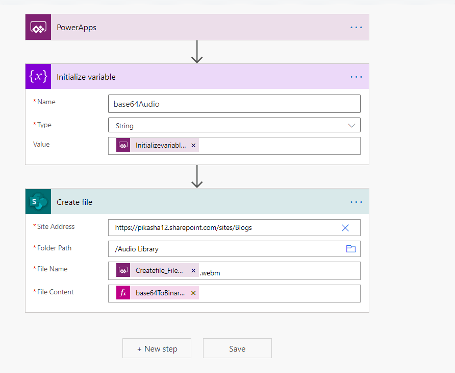 Saving microphone audio recorded in PowerApps to sharepoint