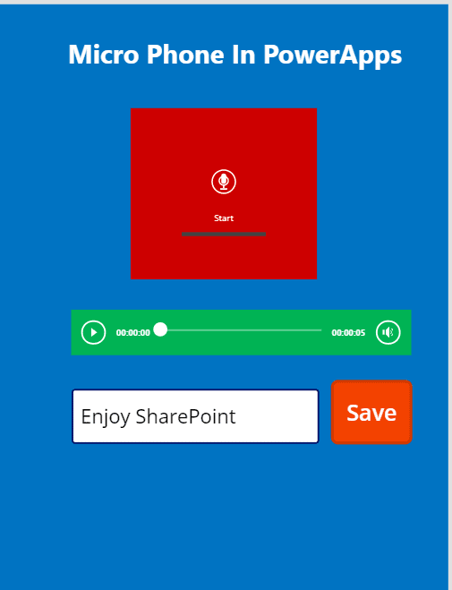 Saving microphone audio recorded in PowerApps to sharepoint online