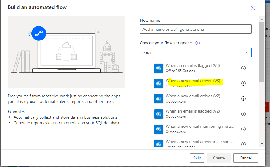 Convert email to pdf Microsoft flow