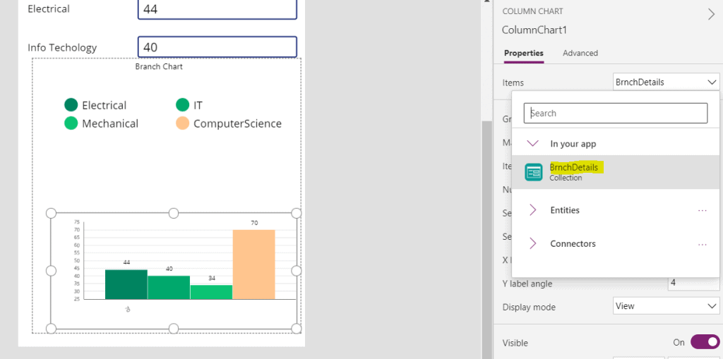 powerapps chart from sharepoint list