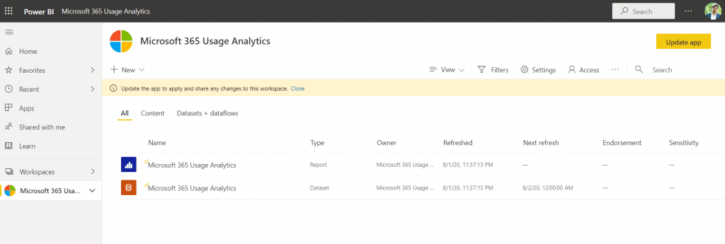 Embed Power BI Microsoft 365 Usage Analytics report in PowerApps