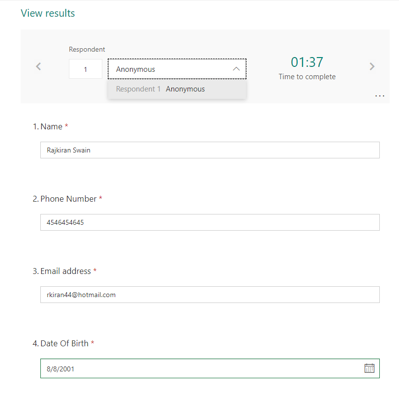 Microsoft forms survey responses