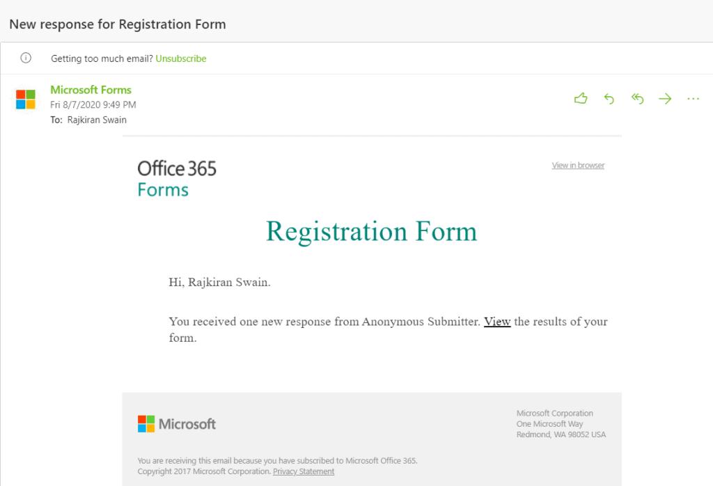 Microsoft forms survey notifications