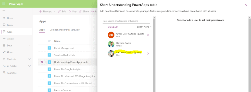how to share powerapps with others