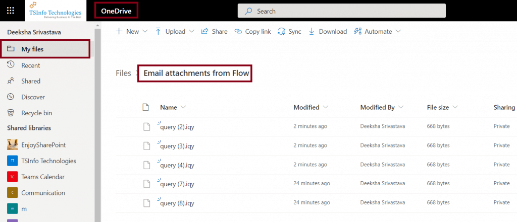 save multiple attachments in OneDrive