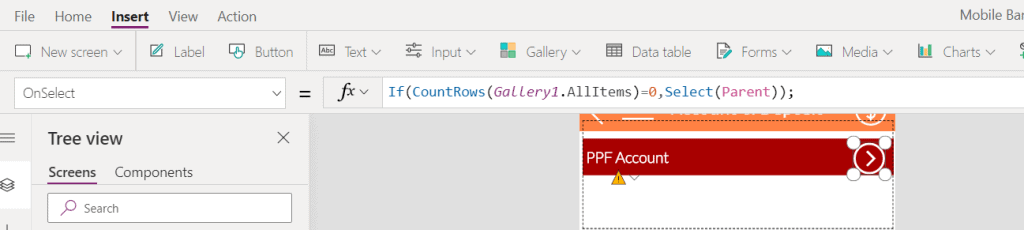 powerapps nested gallery selected