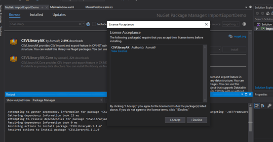 Install CSVLibraryAk NuGet package