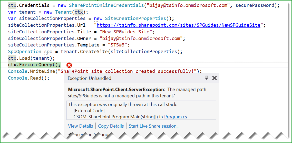 Microsoft.SharePoint.Client.ServerException: 'The managed path