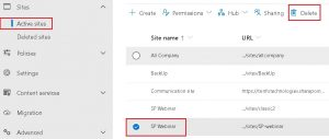 delete sharepoint site