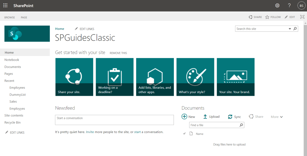 classic team site in SharePoint