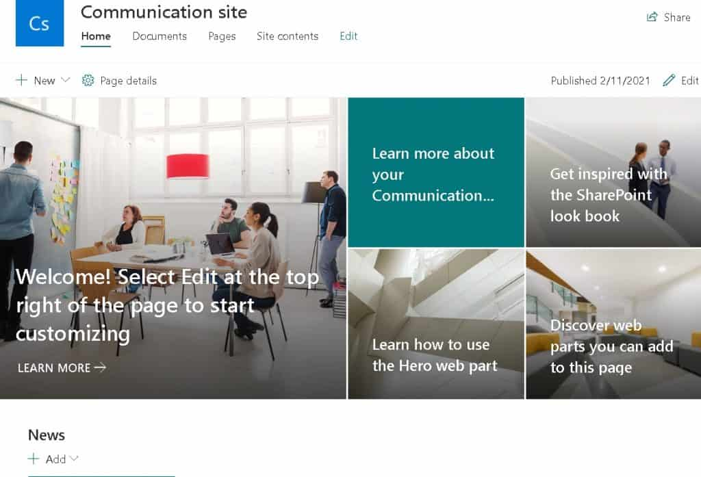 SharePoint Online communication site