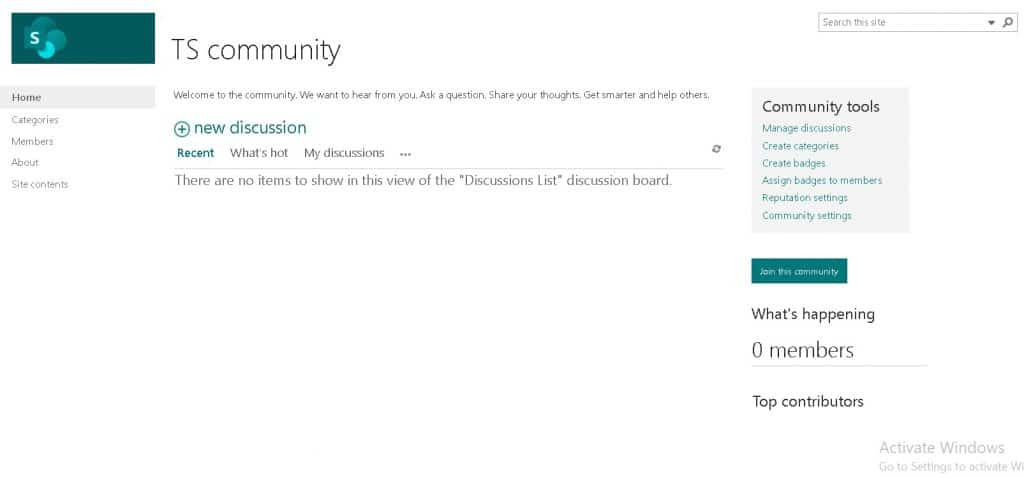 Community site in SharePoint