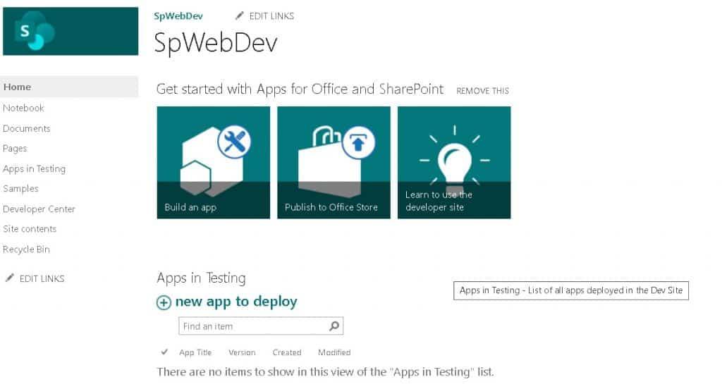 SharePoint Developer site
