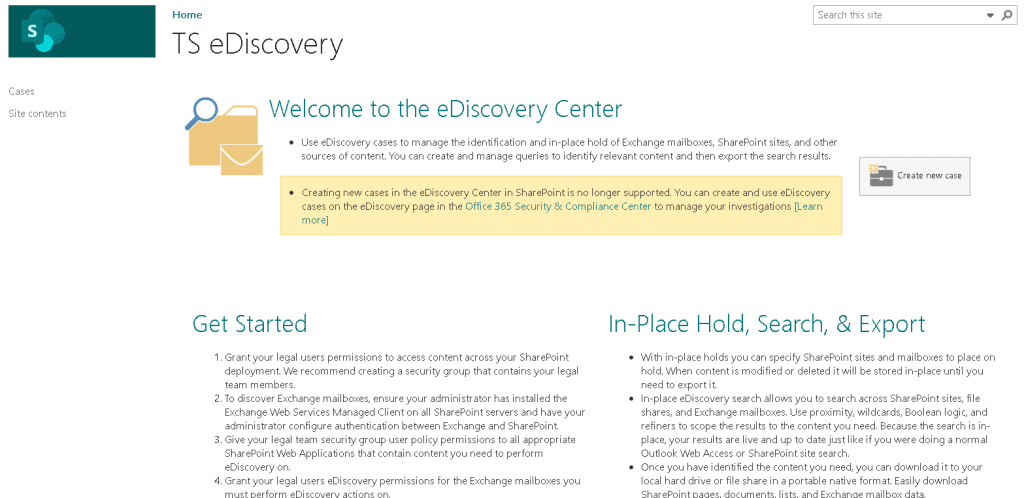 SharePoint eDiscovery site