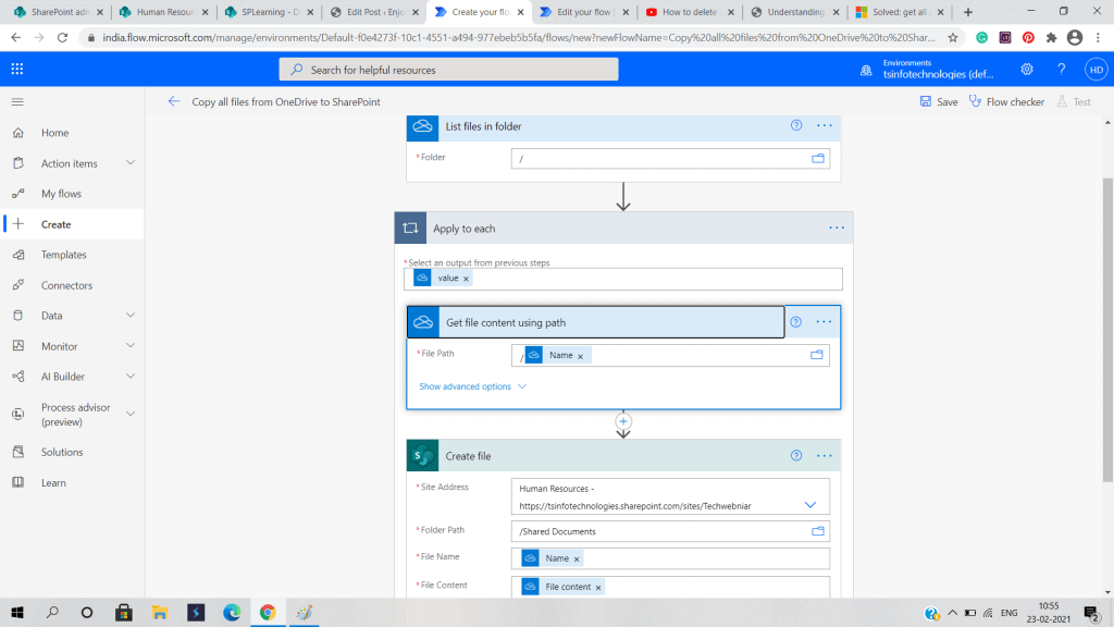flow from OneDrive to SharePoint