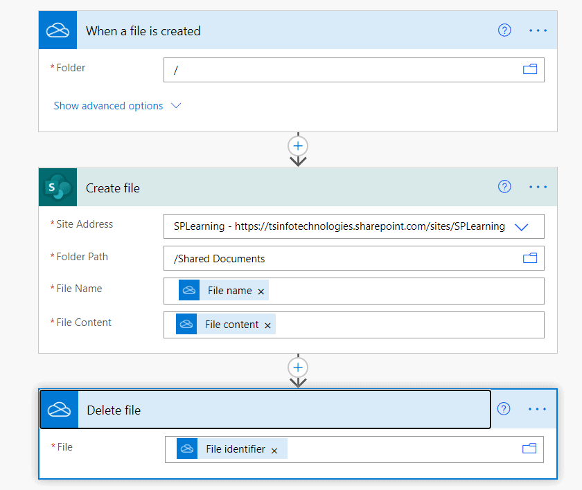Move files from OneDrive to SharePoint using Power Automate