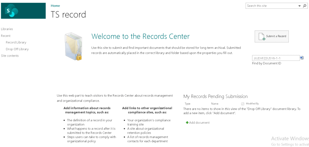 SharePoint Online Record Center