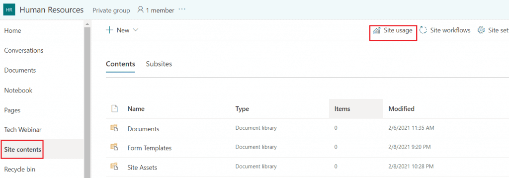 sharepoint online usage reports