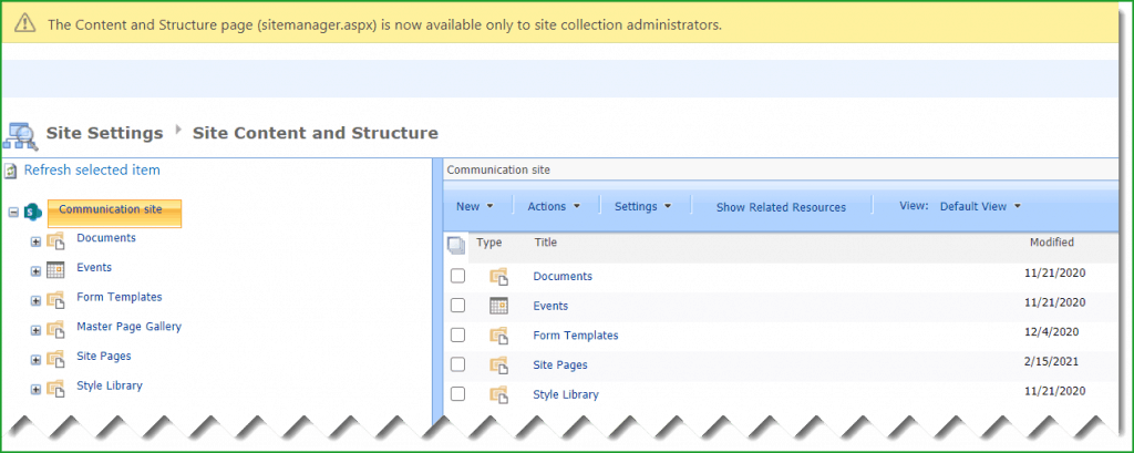 site content and structure missing sharepoint online