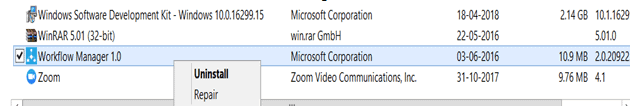 This computer is part of a farm error while uninstalling workflow manager 1.0