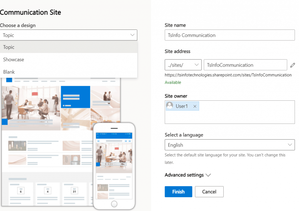sharepoint online create communication site collection