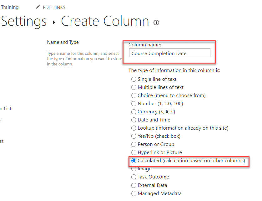 create a calculated column in SharePoint Library