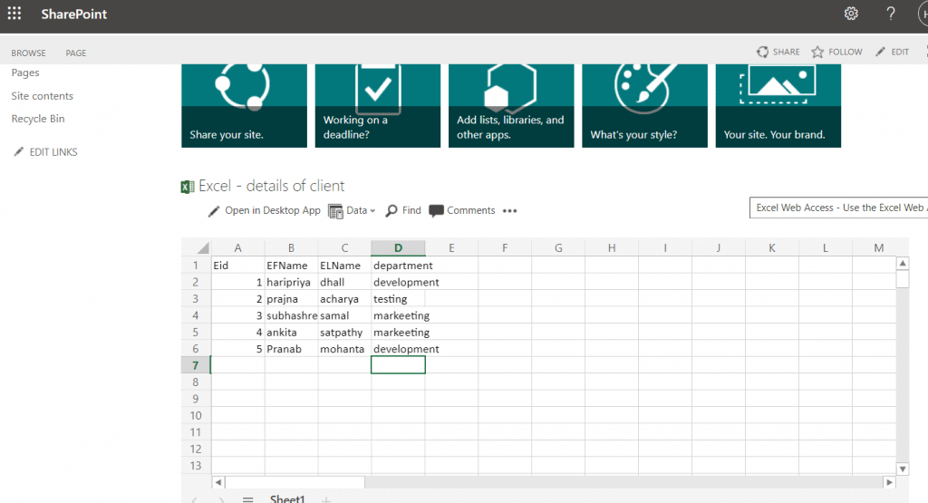 display excel file in sharepoint web part
